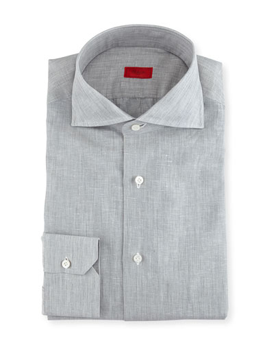 Solid Linen-Cotton Dress Shirt, Light Gray