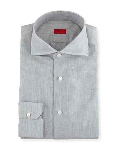 Solid Linen-Cotton Dress Shirt, Light Gray