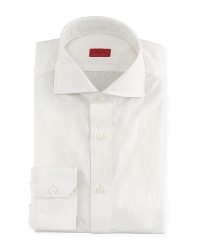 Tonal Floral Jacquard Dress Shirt, White