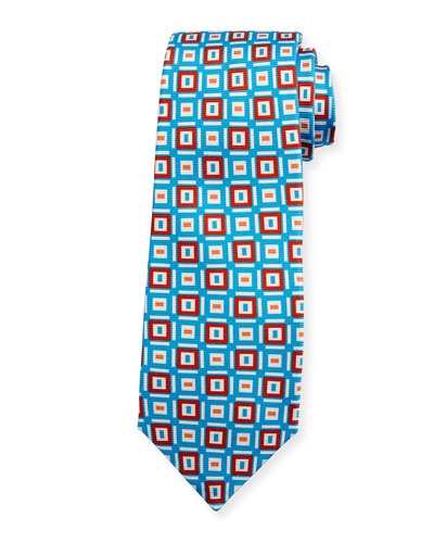 Diamond Geometric Print Tie, Blue/Red