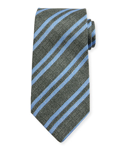 Chambray Striped Silk Tie, Charcoal