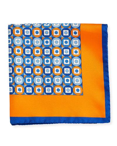 Geometric Printed Silk Pocket Square, Orange