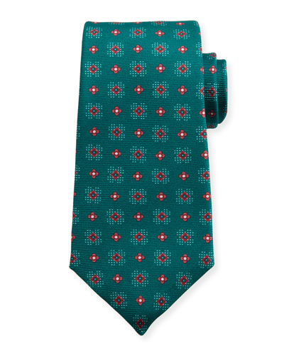 Flower Neat Silk Tie, Green