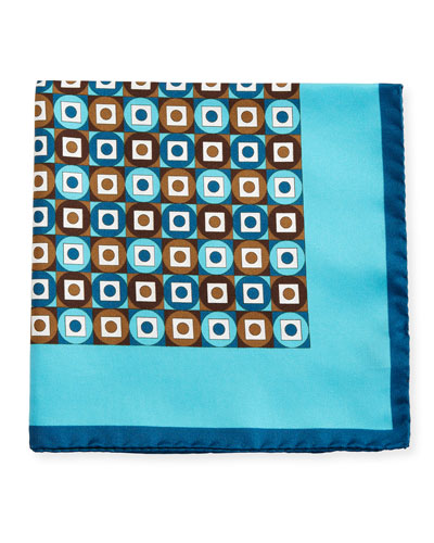 Geometric Printed Silk Pocket Square