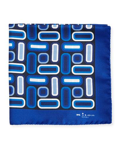 Rectangle & Square Printed Silk Pocket Square, Blue