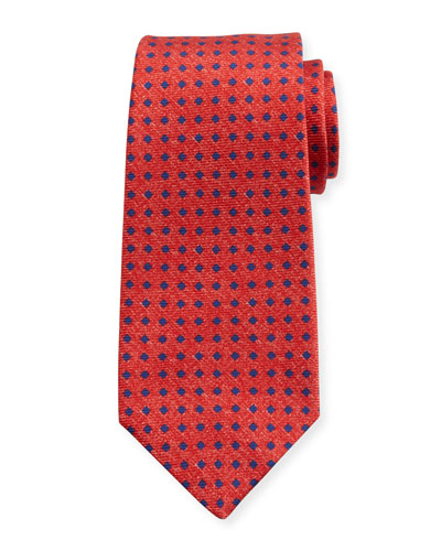 Square Dot Silk Tie, Red