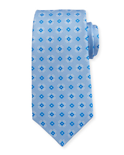 Flower Neat Silk Tie, Light Blue