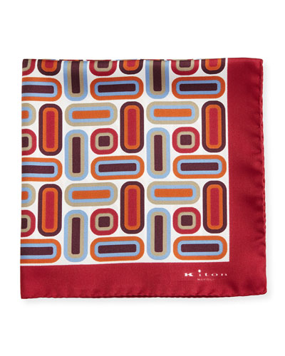 Rectangle & Square Printed Silk Pocket Square, Red