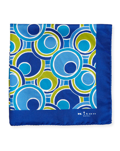 Retro Circle Printed Silk Pocket Square, Navy