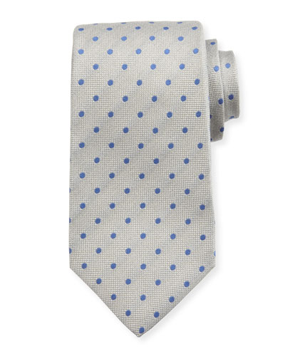 Woven Dot Silk Tie, Light Gray