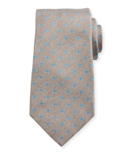 Woven Dot Silk Tie, Tan