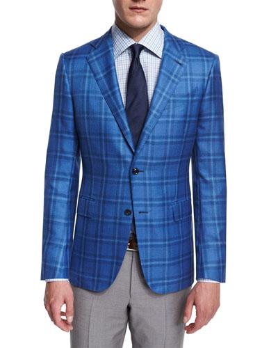 Milano Cashmere/Silk Plaid Two-Button Jacket, Light Blue
