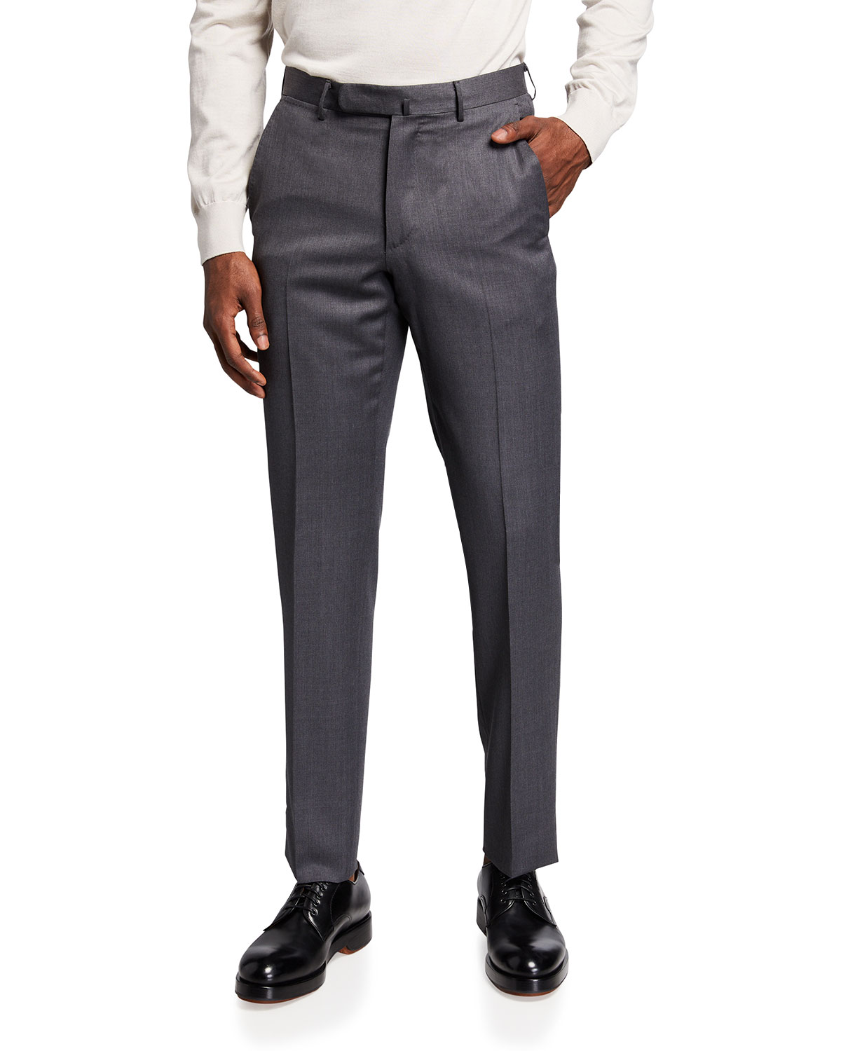 Flat-Front Wool Regular-Fit Trousers