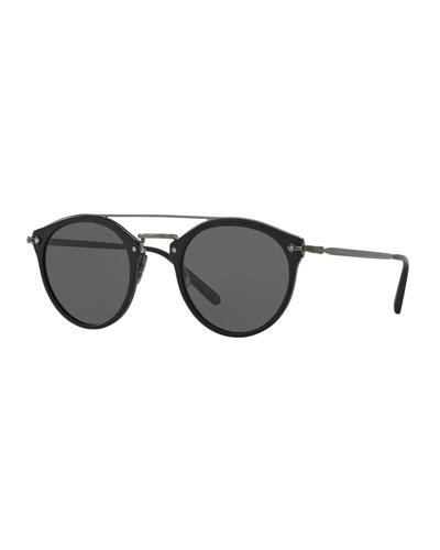 Remick Mirrored Brow-Bar Sunglasses, Semi Matte Black/Antique Pewter