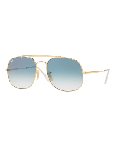The General Aviator Sunglasses, Golden/Light Blue Gradient