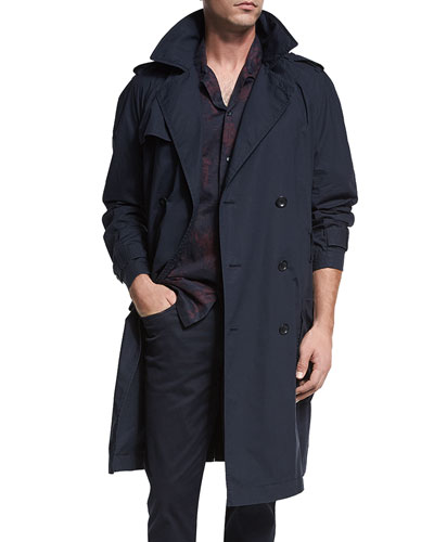 Classic Double-Breasted Trench Coat, Coastal Blue