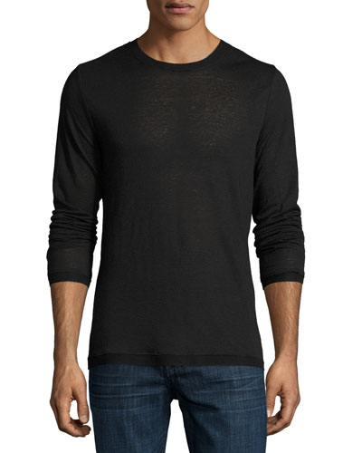 Sweater-Trim Long-Sleeve Crewneck T-Shirt, Black