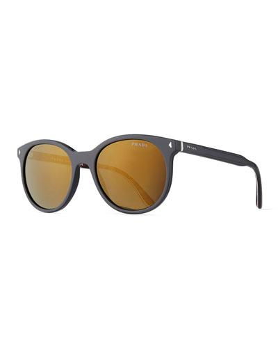 Men's Universal-Fit Round Mirrored Sunglasses, Gray