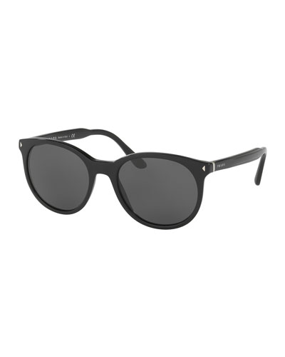 Men's Universal-Fit Round Sunglasses, Black