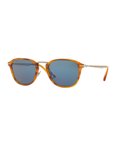 Calligrapher Edition PO3165S Acetate Sunglasses, Striped Brown