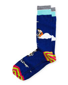 High Flying Striped Socks, Blue