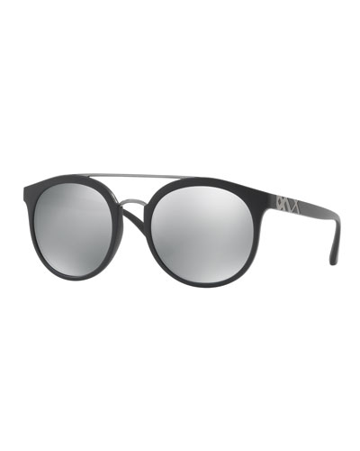 Top Bar Polarized Round Frame Sunglasses, Black