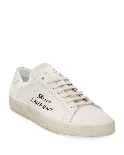 SL/06 Distressed Low-Top Court Sneaker, Optic White
