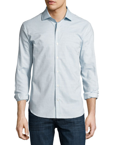 Ferrada Mélange Coupé Cotton Shirt, Blue