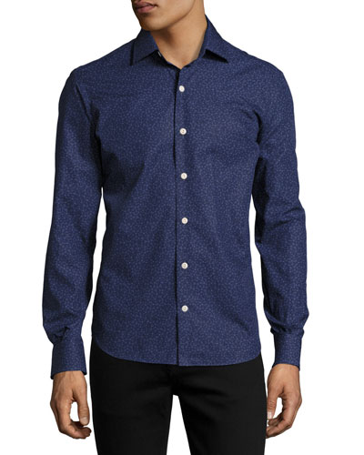 Cesio Floral-Print Cotton Shirt, Blue