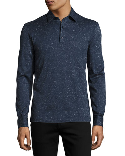 Teviglio Donegal Long-Sleeve Polo Shirt, Blue