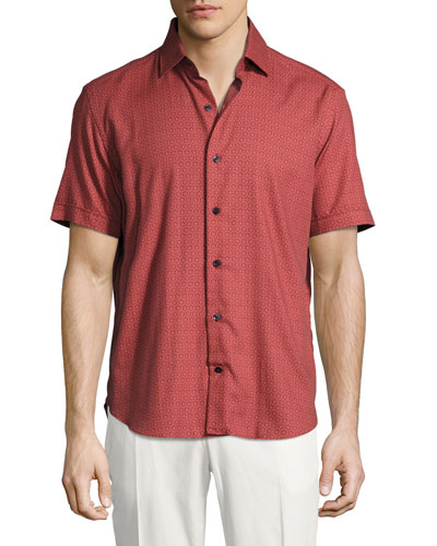 Medallion-Print Short-Sleeve Cotton Shirt