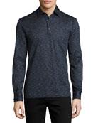 Teviglio Mélange Long-Sleeve Polo Shirt, Blue