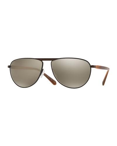 Conduit Street 59 Mirrored Pilot Sunglasses, Tobacco Bis/Black
