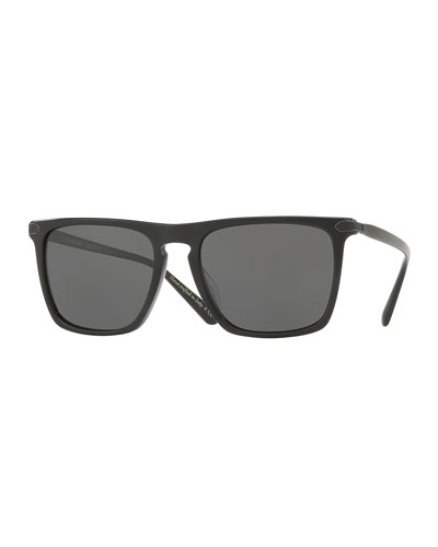 Rue de Sèvres 54 Square Acetate Polarized Sunglasses, Nero Grigio/Graphite