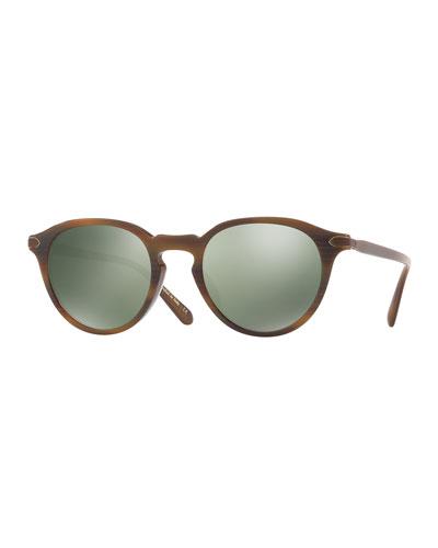 Rue Marbeuf 52 Round Polarized Acetate Sunglasses, Nero Verde/Bourbon