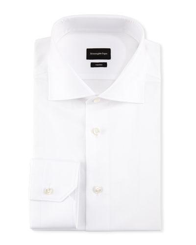Trofeo® Slim-Fit Tonal-Stripe Dress Shirt, White
