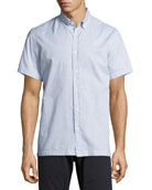 Murphy Printed Short-Sleeve Sport Shirt, Blue/Cream