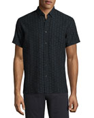 Tuscumbia Short-Sleeve Jacquard Shirt, Black/Blue