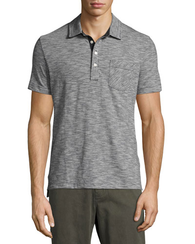 Ombre Striped Polo Shirt, Navy