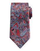 Quindici Multi-Paisley Silk Tie, Red