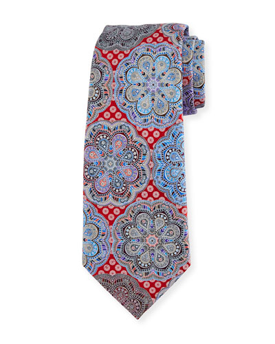 Quindici Flower Medallion Tie, Red