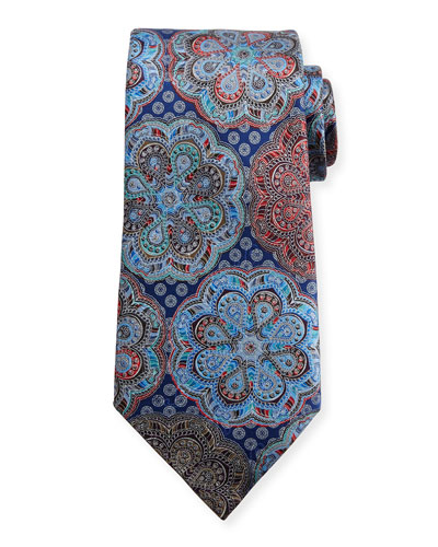 Quindici Circle Flower Medallion Tie