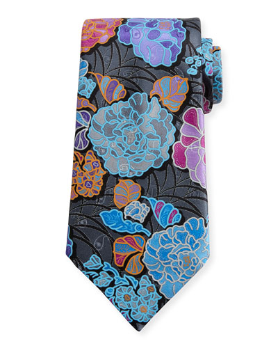 Quindici 3D Flower Tie, Charcoal