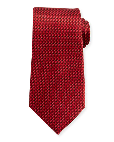 Tonal 3D Diamond Silk Tie, Red