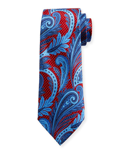 Three-Dimensional Paisley Silk Tie, Red
