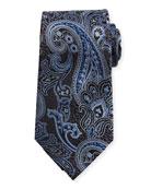 Silk Paisley Tie, Navy