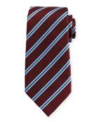 Satin-Stripe Herringbone Tie, Wine