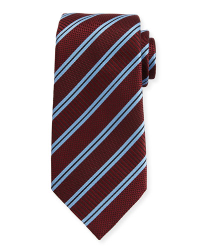 Satin-Stripe Herringbone Tie, Wine