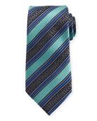 Satin-Stripe Herringbone Silk Tie, Blue