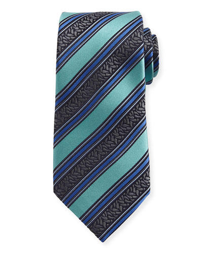 Satin-Stripe Herringbone Silk Tie, Blue